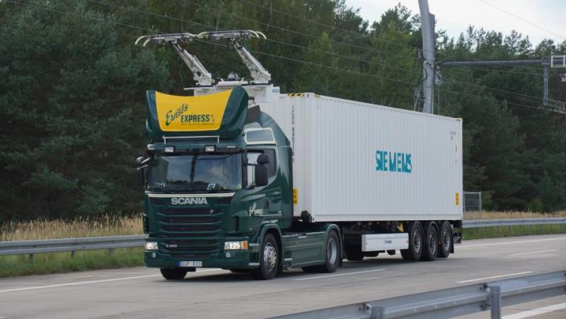 In 2019, five test trucks will start using a 5 kilometre section of the autobahn on Germany's first e-highway for trucks in the state of Hesse. Photo - CLEW.