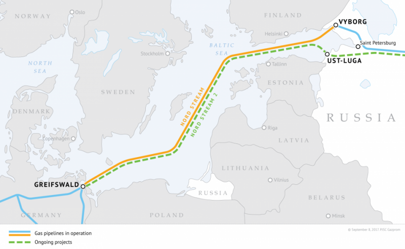 Map showing the route of Nord Stream and Nord Stream 2 pipelines. Source - PJSC Gazprom 2017.