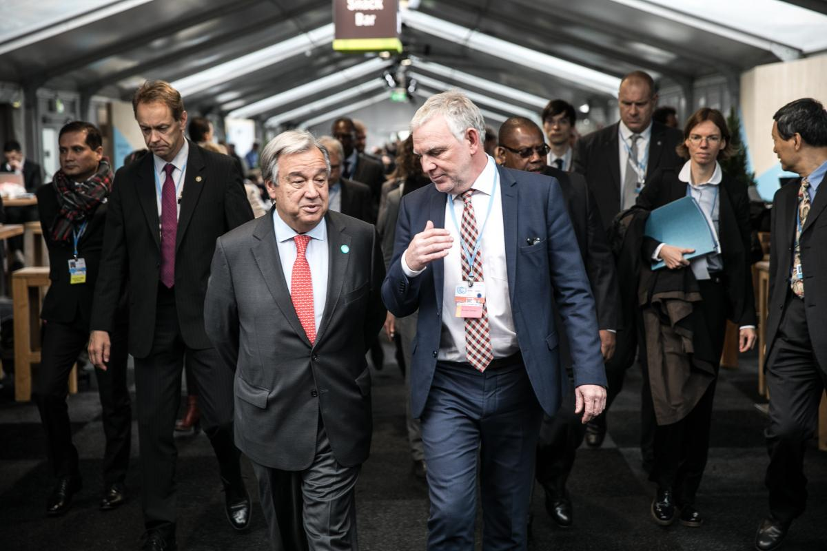State secretary in Germany's environment ministry Jochen Flasbarth (right) with Secretary-General of the United Nations António Guterres at the 23rd UN climate change conference in Bonn 2017. Source - BMU/Sascha Hilgers 2017.