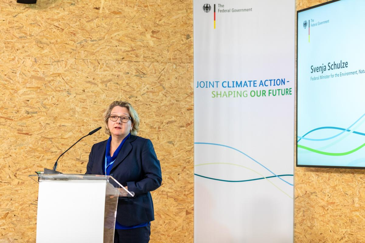 Photo of German environment minister Svenja Schulze at the 24th UN climate change conference in Poland. Photo: BMU/Andreas Ennenbach 2018.