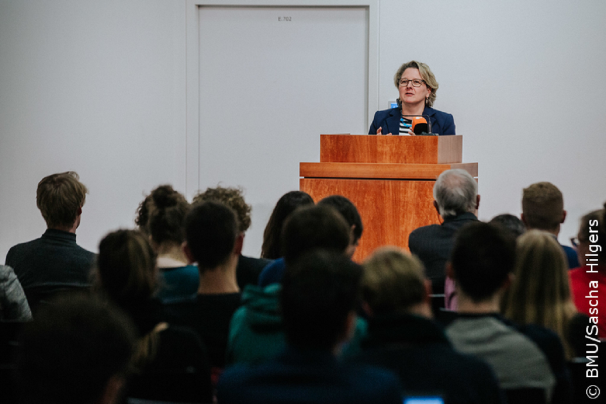 Environment minister Svenja Schulze during her speech at the Humboldt University in Berlin. Source - BMU Sascha Hilgers 2018.