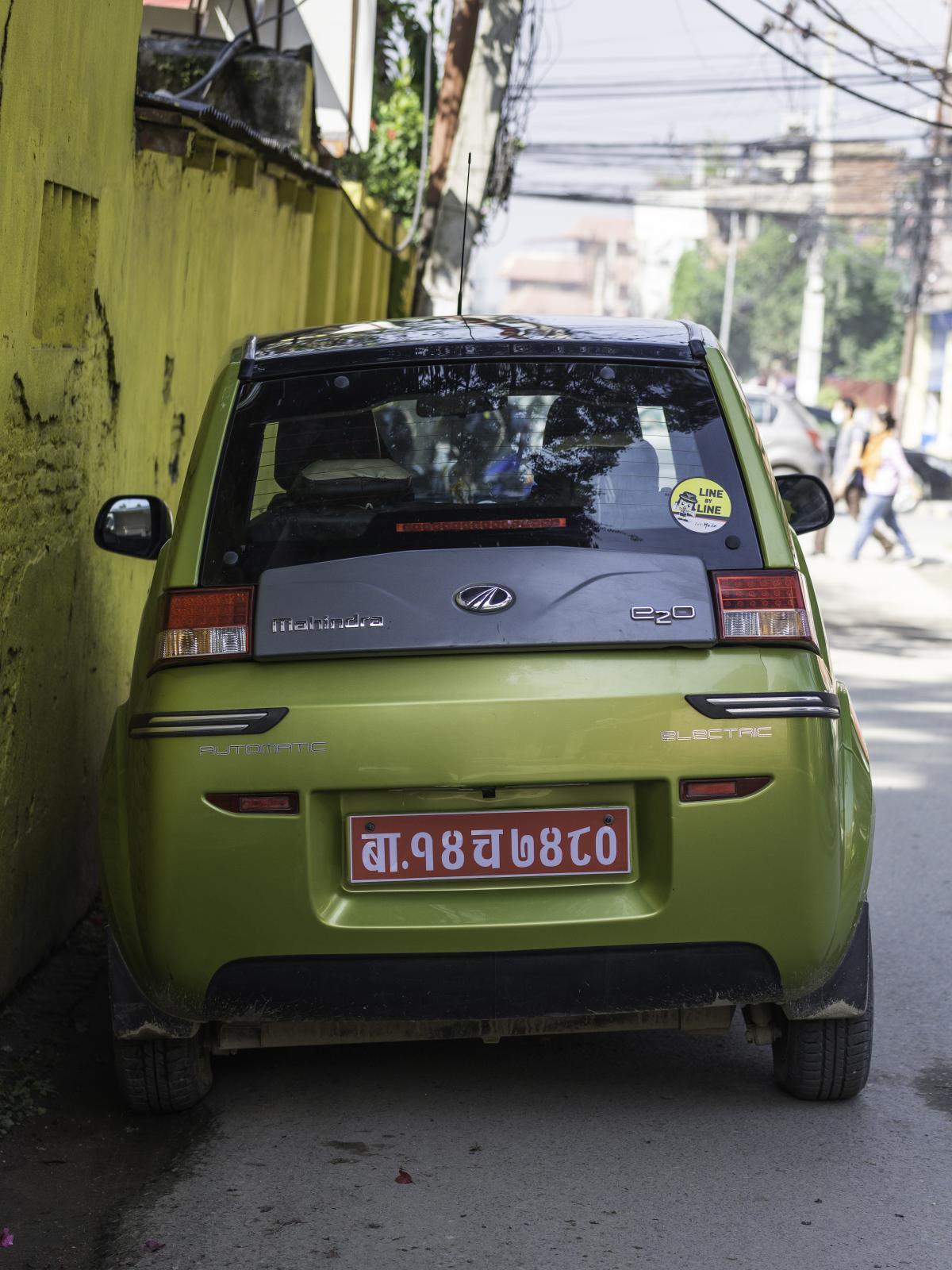 A Mahindra e20 parked in Kathmandu, Nepal.