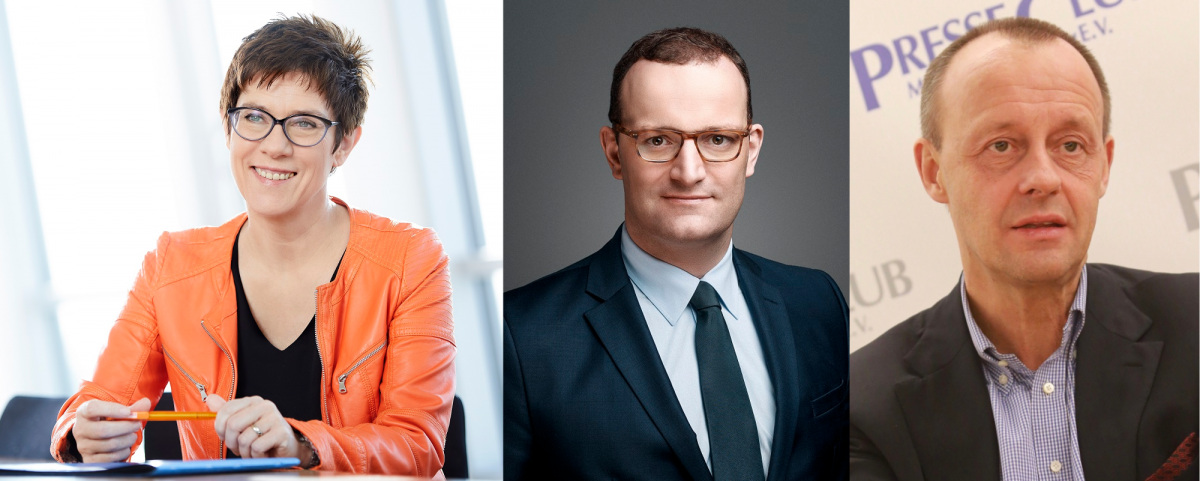 Kramp-Karrenbauer, Spahn and Merz are candidates to succeed Angela Merkel as German chancellor. Photos - CDU/Chaperon, BMG, Michael Lucan.
