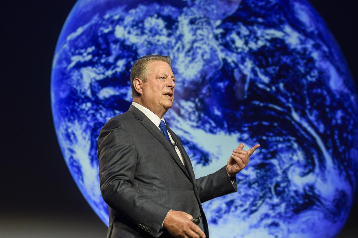 Former US Vice President Gore speaking to climate activists in Berlin. Photo: The Climate Reality Project 2018.