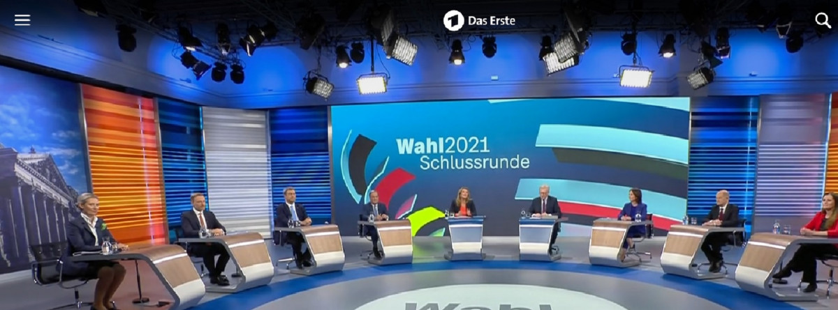Figureheads of the seven major parties joined the last TV debate before the election. Photo: ARD (screenshot)