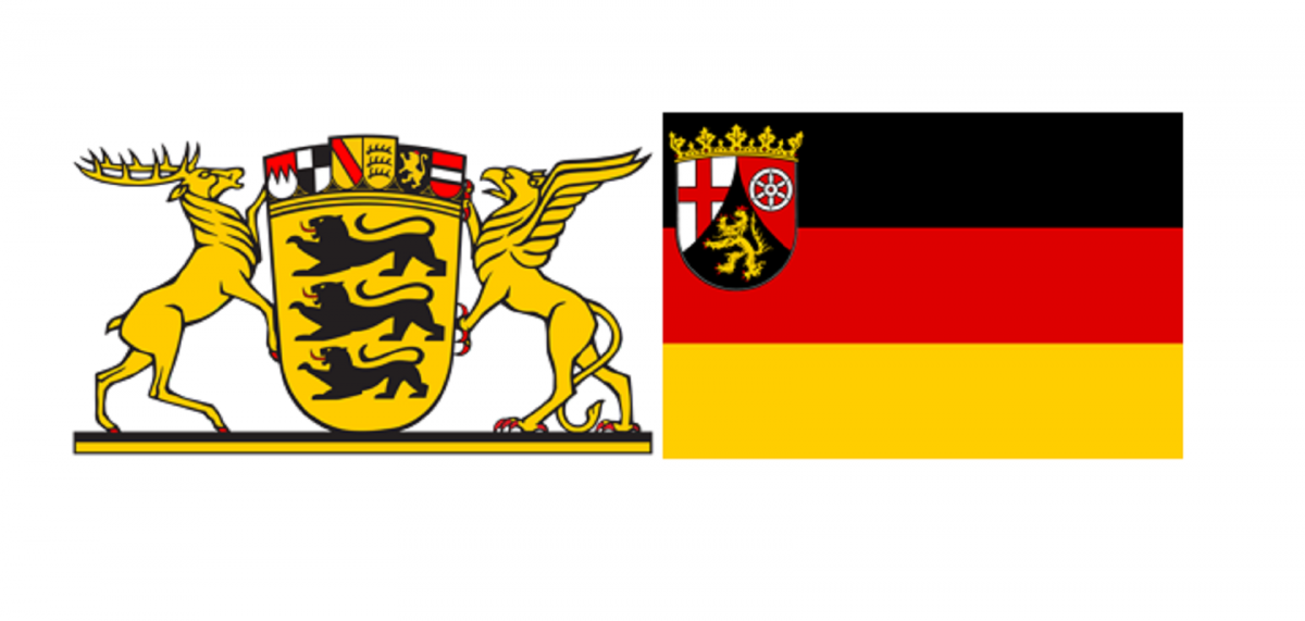 The coat of arms of Baden-Wurttemberg (left) and of Rhineland-Palatinate on the German national flag. Source: Public Domain