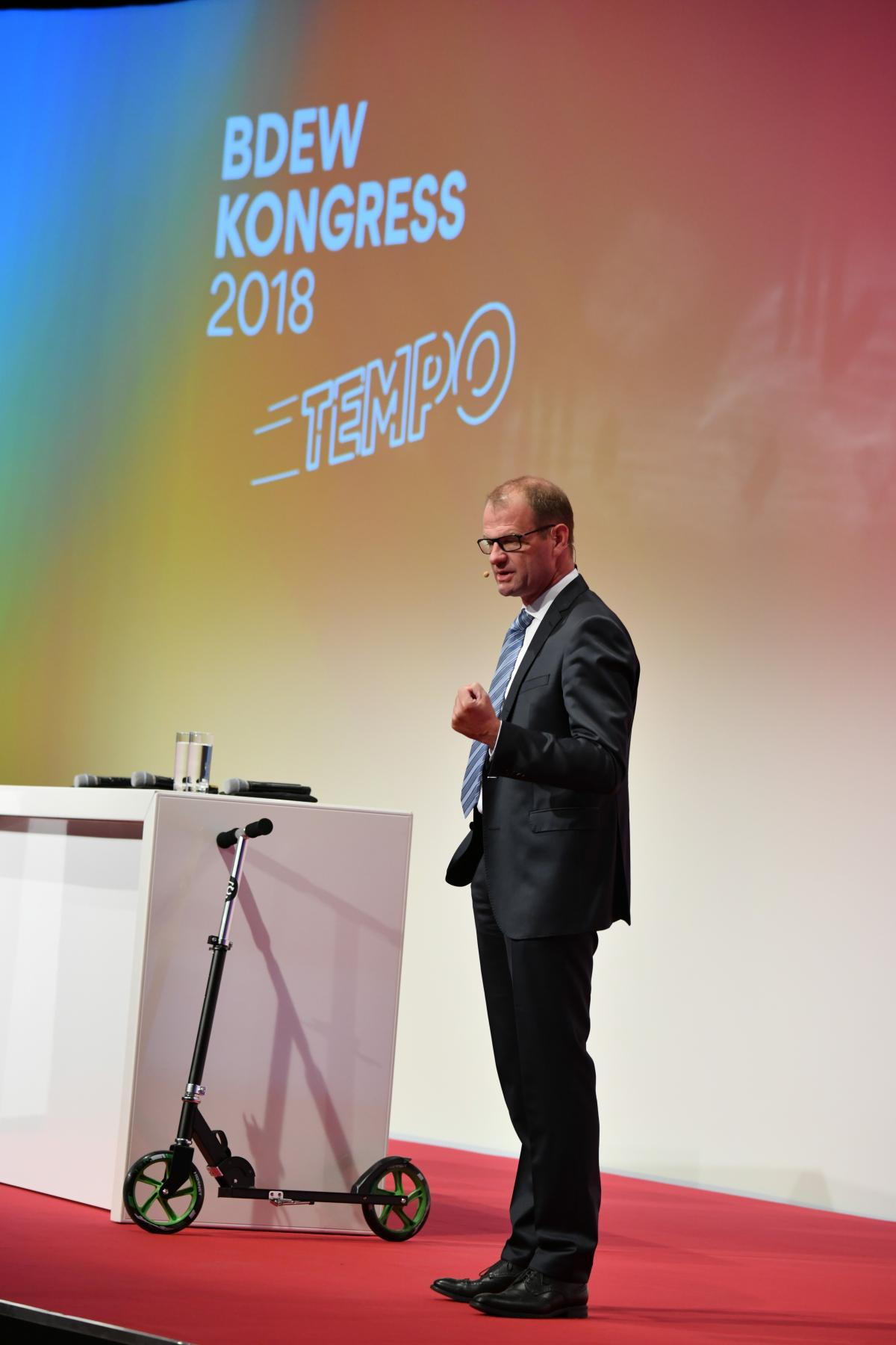 BDEW executive director Stefan Kapferer speaks at the BDEW congress 2018 in Berlin.