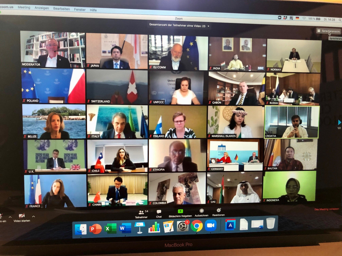 Photo shows video conference of Petersberg Climate Dialogue 2020. Photo: BMU 2020.