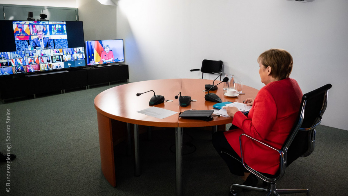 Photo shows German chancellor Merkel at the video conference of the members of the European Council on 19 June. Photo: Bundesregierung/Sandra Steins.