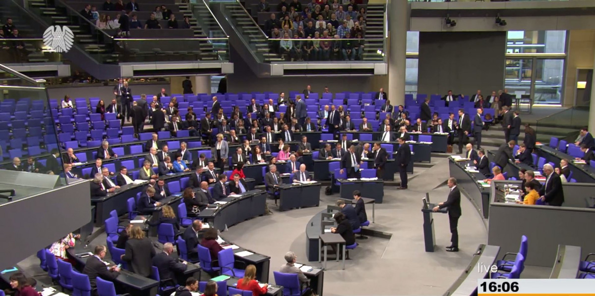 Photo of a first parliamentary debate on the coal exit proposal in the German Bundestag. Photo: Bundestag.