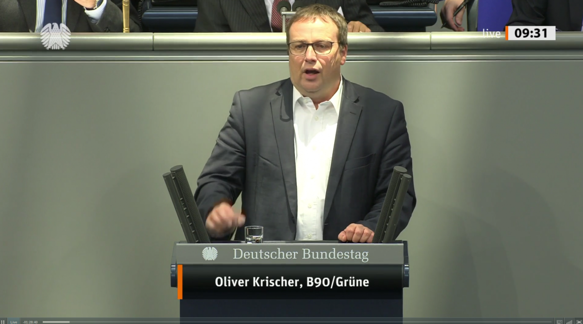 Photo of Oliver Krischer, deputy head of the Greens' parliamentary group. Image: Bundestag.