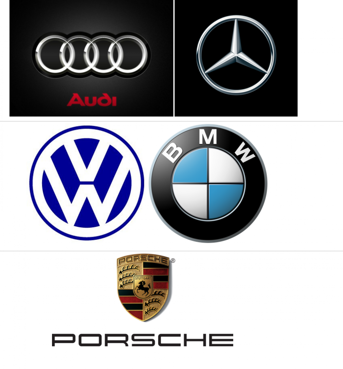 Brand logos of Audi, Daimler, VW, BMW and Porsche.