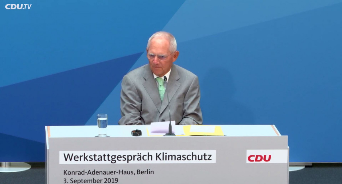 Former German finance minister Wolfgang Schäuble at the CDU's climate action work shop. Image: CDU.