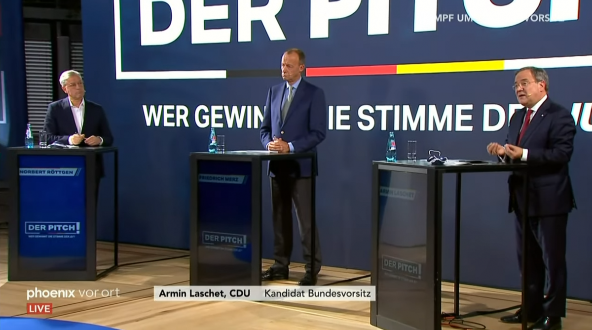 Possible future leaders of the CDU Norbert Röttgen, Friedrich Merz and Armin Lasche (from left) in a TV-debate. Photo: Screenshot Phoenix.