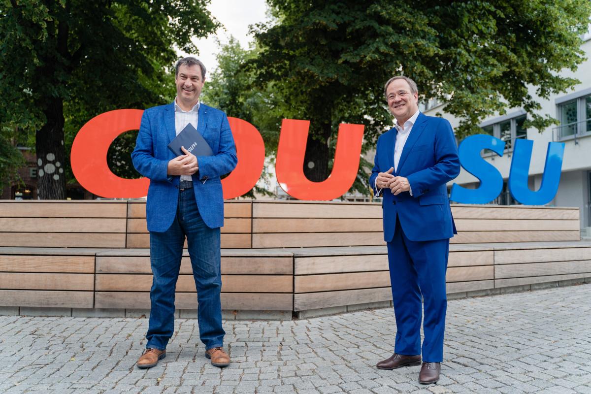 Photo shows CSU head Markus Söder and conservative chancellor candidate Armin Laschet. Source: CDU/Steffen Böttcher.