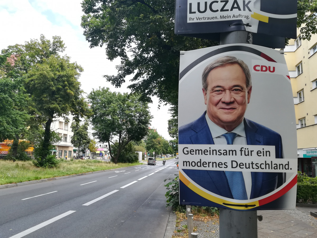 """""""Together for a modern Germany"""" - election promise by CDU chancellor candidate Armin Laschet. Photo: CLEW / Wettengel"""