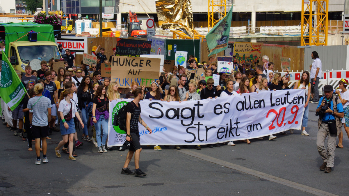 Fridays for Future climate protesters in Dortmund, Germany in August 2019. Photo: CLEW/Mohn.