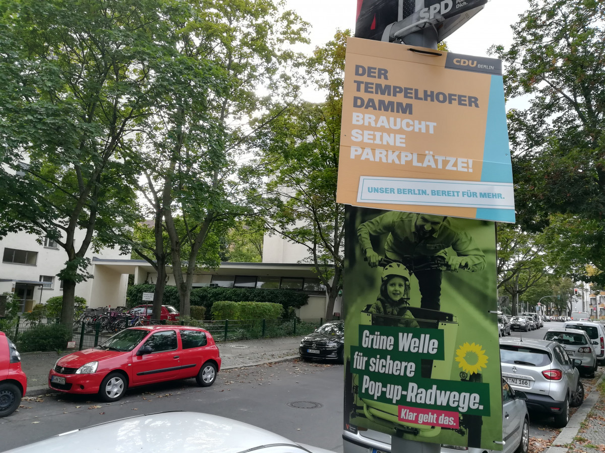Photo shows election campaign posters in German capital Berlin in 2021. Photo: CLEW/Wettengel.