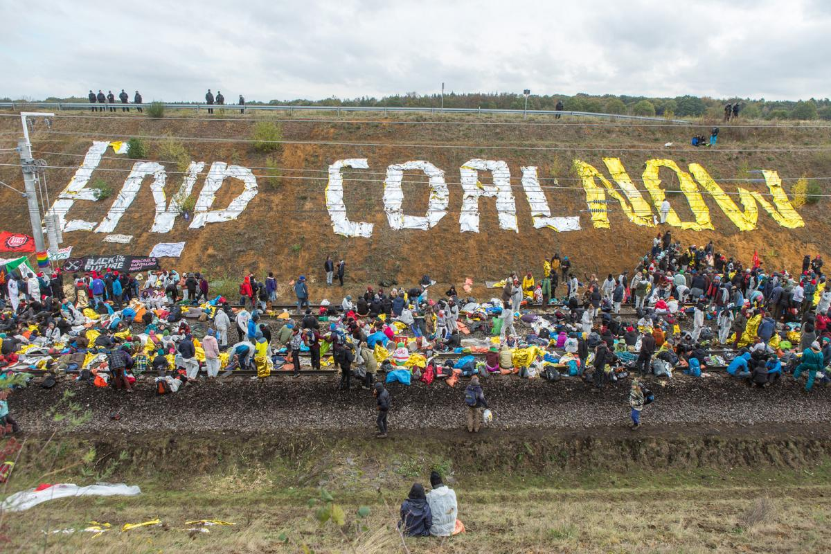 Anti-coal protesters near the embattled Hambach coal mine in October. Photo: Ende Gelände