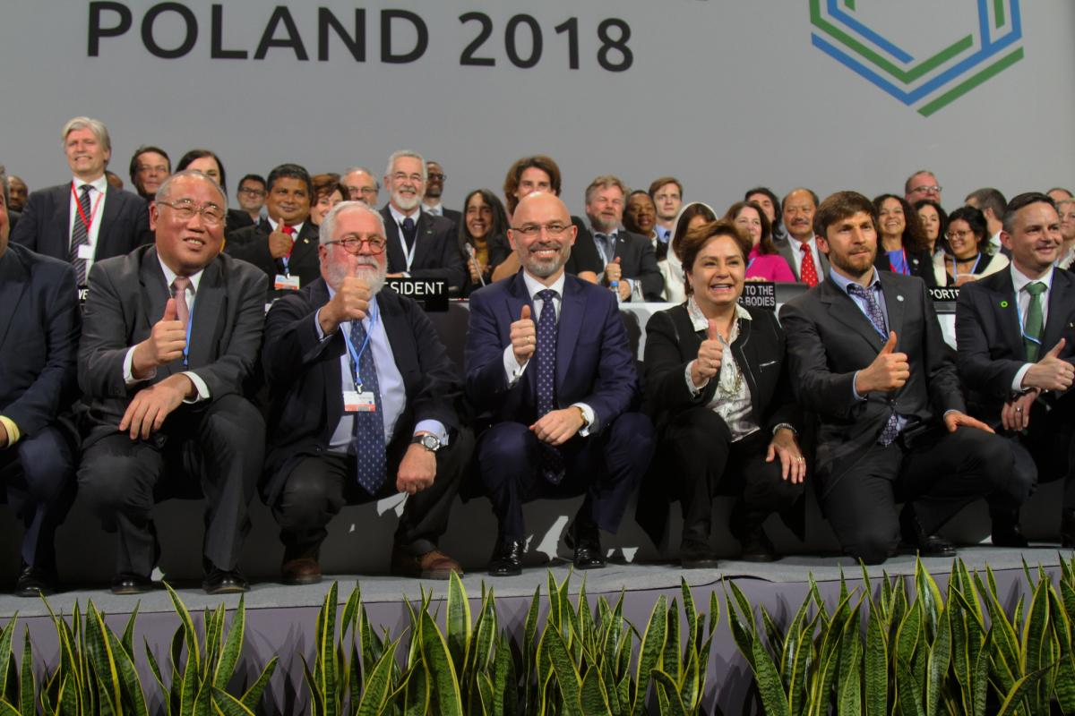 Photo after the final plenary at COP24 UN climate change conference in Katowice, Poland. Photo: UNFCCC 2018.