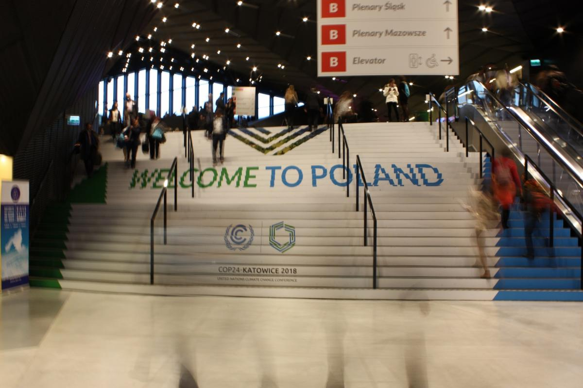 Photo shows a staircase at the COP24 venue in Katowice, Poland. Photo: CLEW/Wettengel 2018.