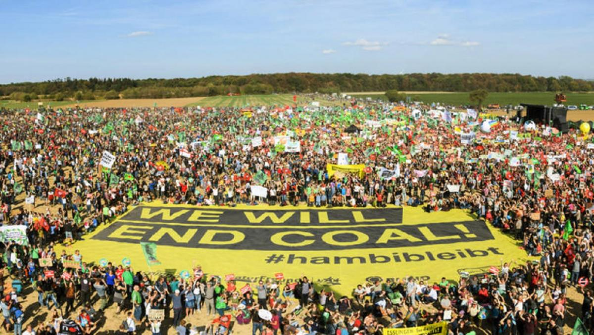 Anti-coal protesters gather at the Hambach Forest on 6 October. Photo: Greenpeace