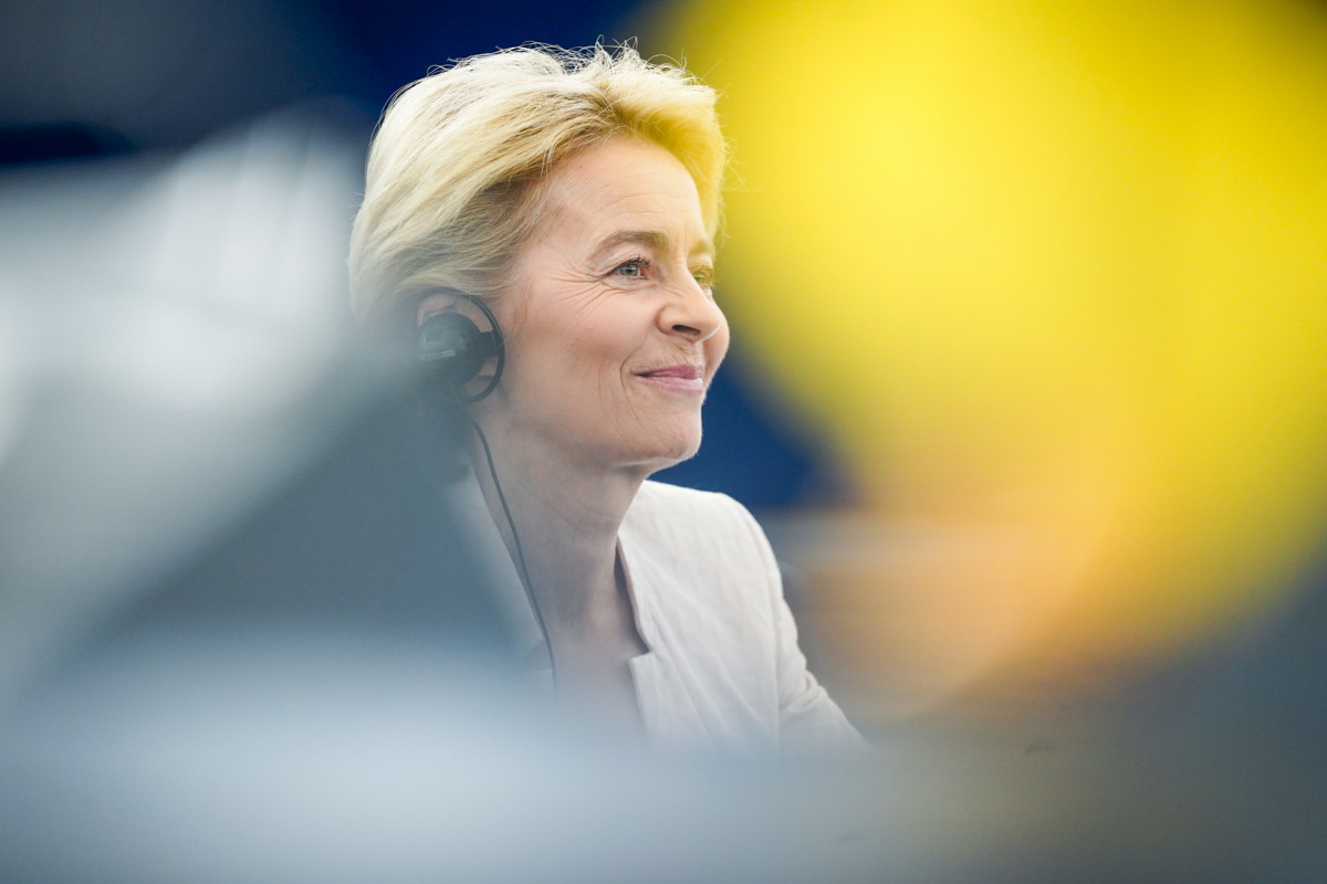 Photo shows European Commission president candidate Ursula von der Leyen during her programmatic speech to the European Parliament in July 2019. Source: EP/Daina le Lardic 2019.