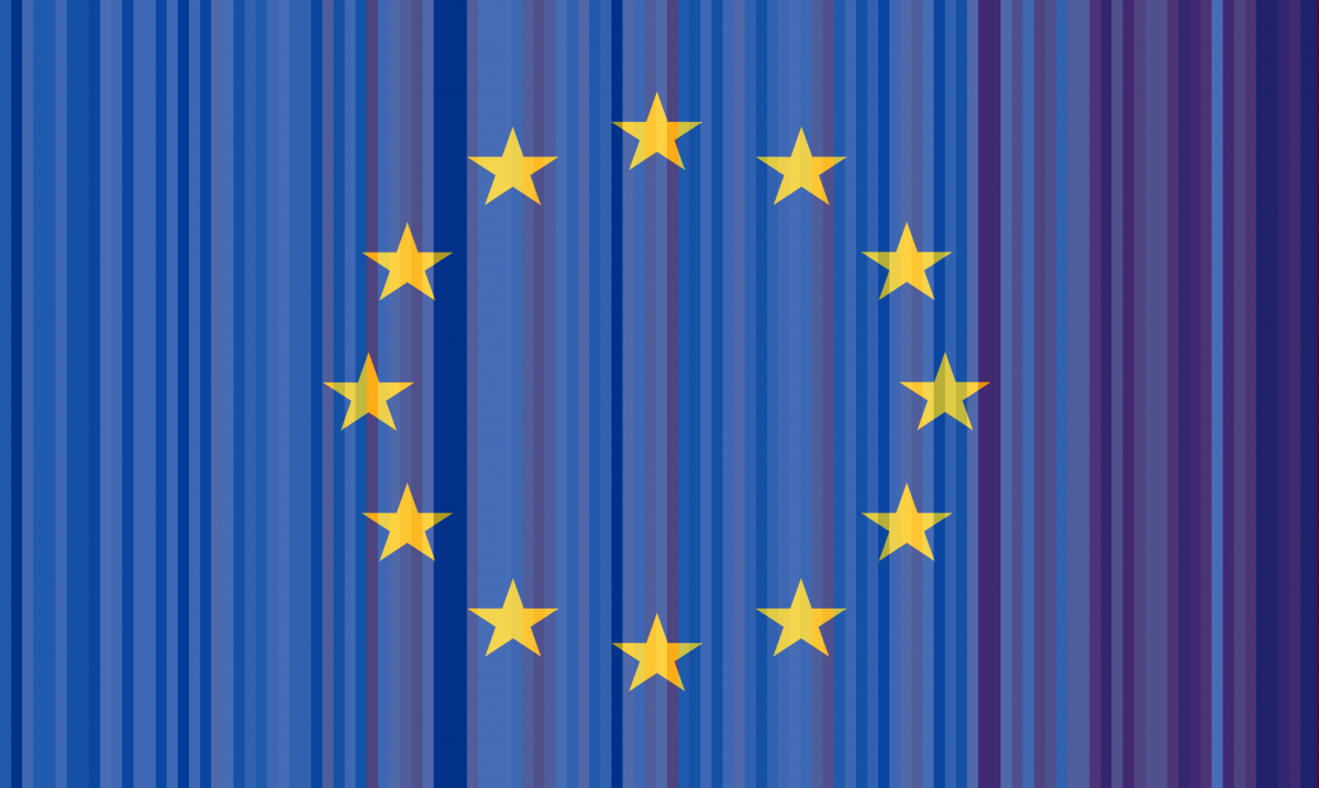 EU flag with warming stripes in background. Source: CLEW.