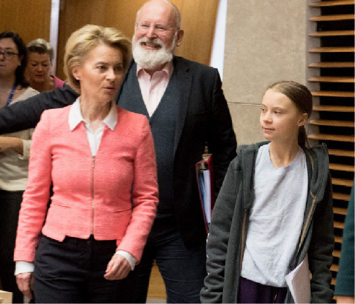 EU Commission President Ursula von der Leyen, climate commissioner Frans Timmermans, and climate activist Greta Thunberg. Source EU Commission