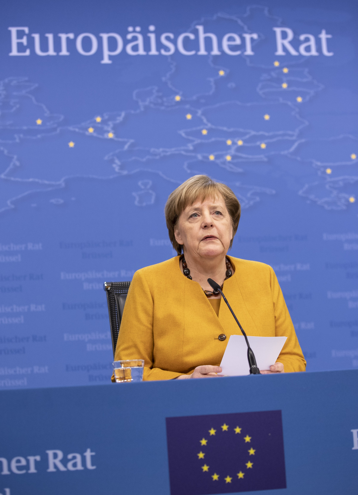 Photo shows German chancellor Angela Merkel at press conference after European Council summit in March 2019. Photo: European Union 2019.