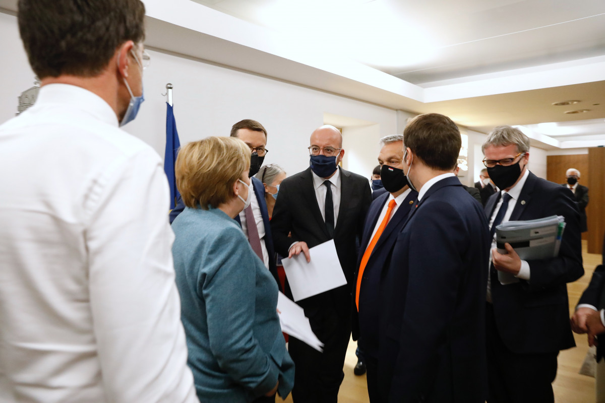 Photo shows German chancellor Merkel with other EU leaders at the 2020 European Council meetin in December. Photo: European Union.
