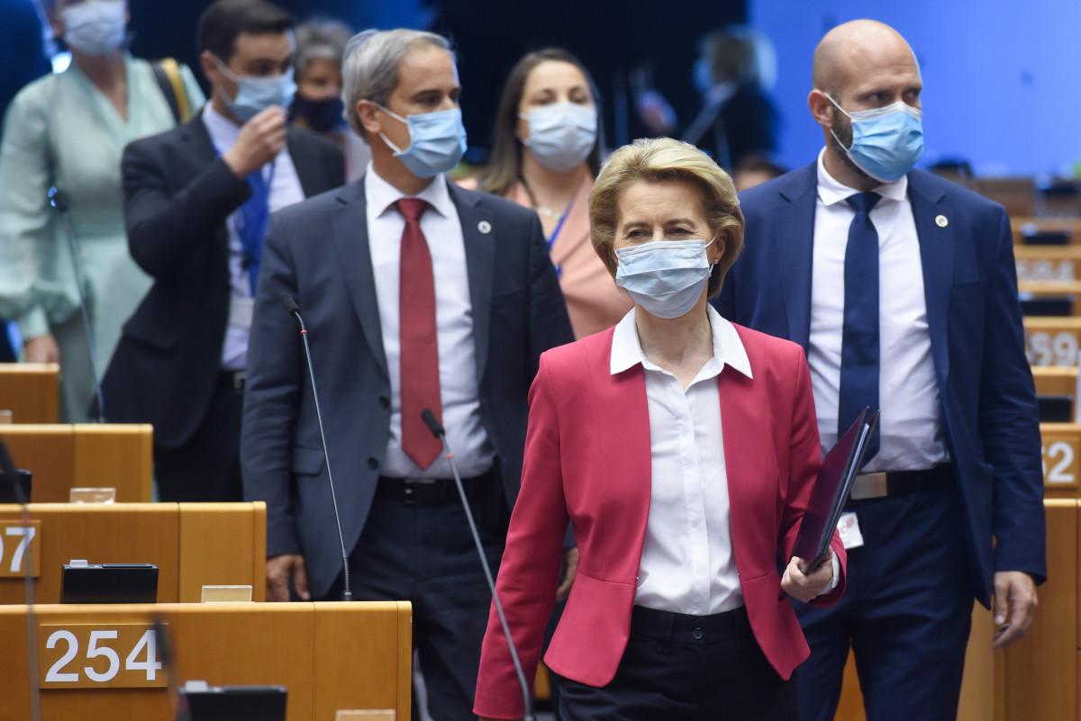 Photo shows Ursula von der Leyen in the European Parliament on 27 May 2020. Photo: European Union, Etienne Ansotte 2020.