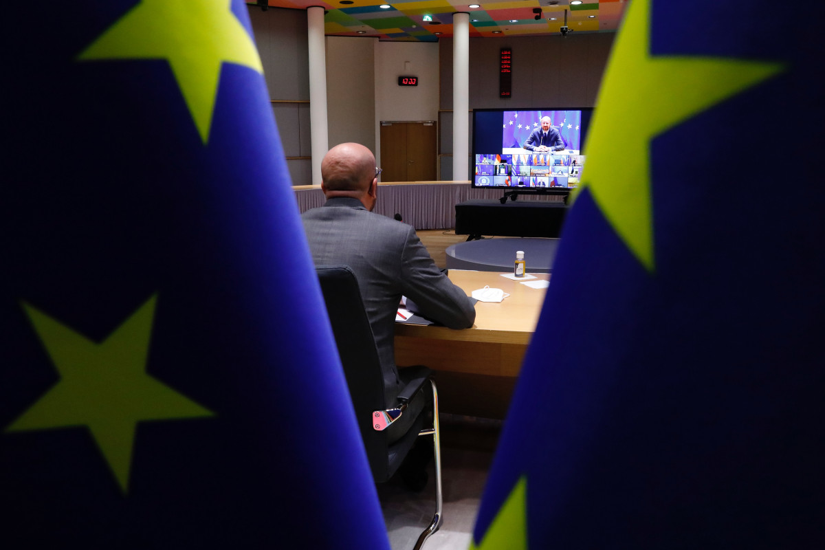 Photo shows European Council president charles michel in video conference with EU leaders. Source: European Union.