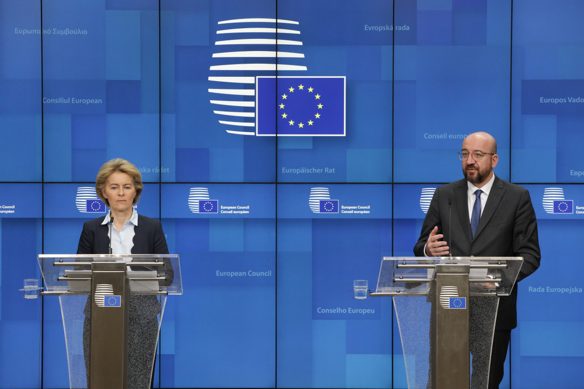 European Commission president Ursula von der Leyen and European Council president Charles Michel at a press conference following the EU leaders' video conference on COVID-19 on 18 March. Photo: European Union.