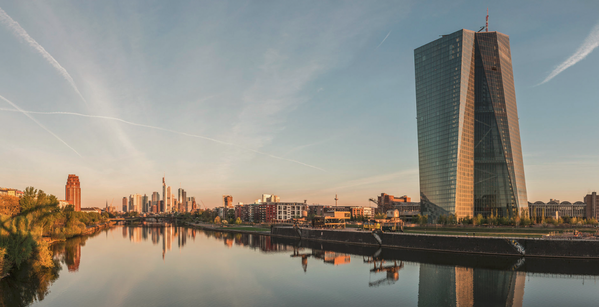 The European Central Bank in front of bank towers in Germany's financial centre, Frankfurt am Main. Photo: ECB
