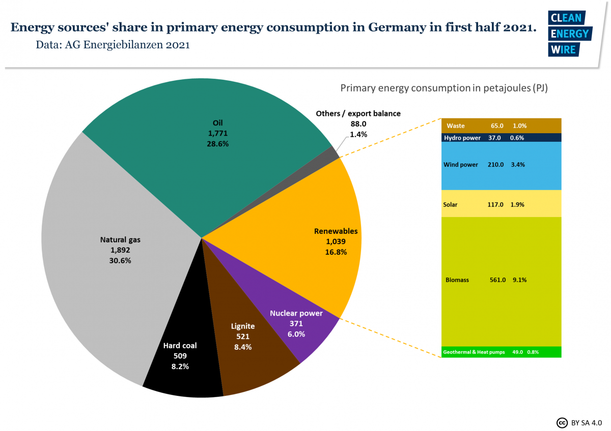 Graph shows German energy sources' share in primary energy consumption in first half 2021. Graph: CLEW 2021.