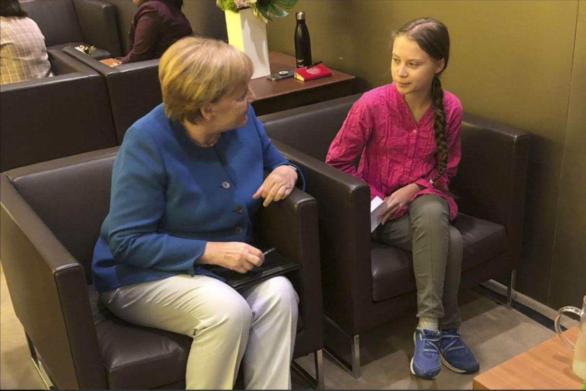 Merkel meets Greta Thunberg in 2019 at the UN Climate Summit in New York. Source Bundesregierung