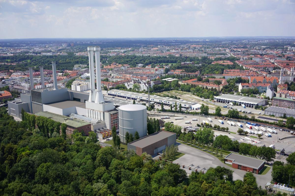Model of Schäftlarnstraße geothermal heating plant in Munich