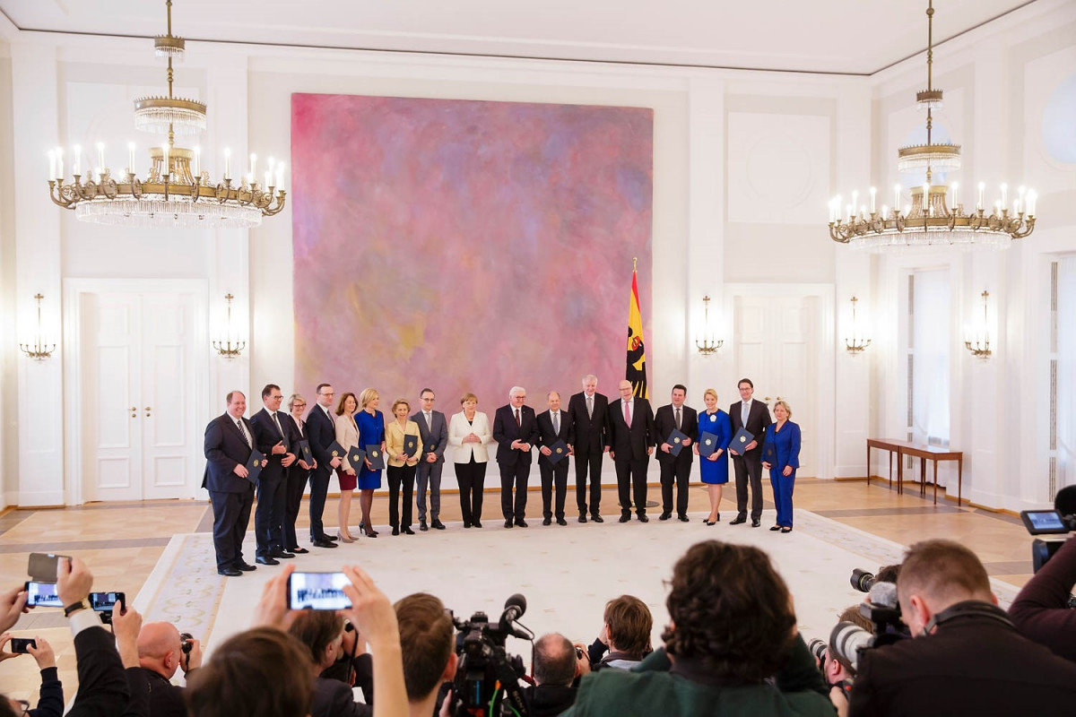 Germany's entire government cabinet at its swearing-in ceremony in March 2018. Photo - Federal Government