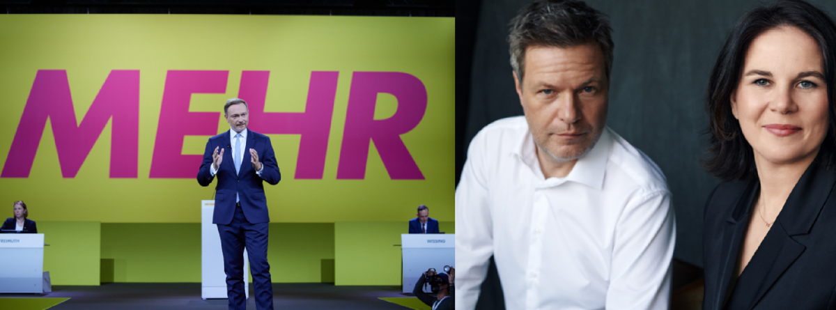 FDP leader Christian Lindner (left) and the Greens' party heads Robert Habeck and Annalena Baerbock could decide who will be Germany's next chancellor. Photos: FDP / Green Party