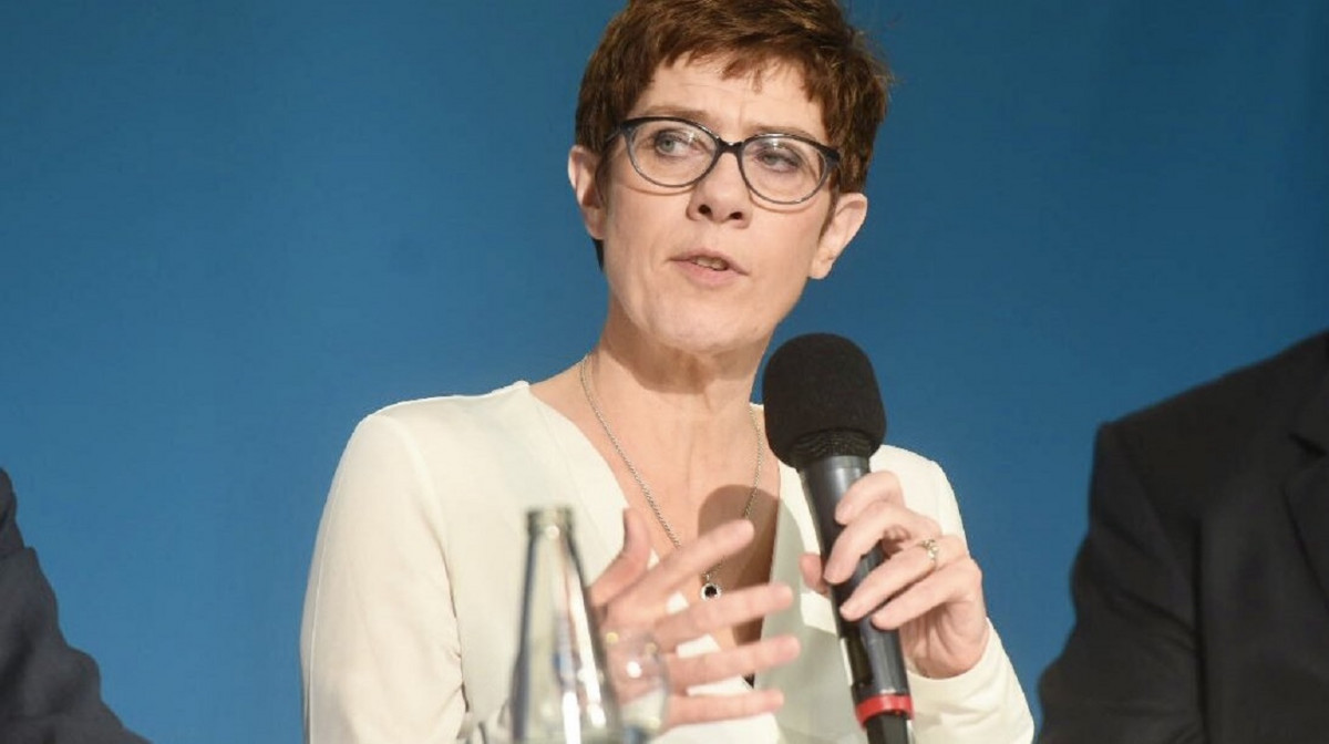Photo shows Merkel confidante Annegret Kramp-Karrenbauer, head of the conservative CDU, at industry lobby BDI's climate congress on 4 April in Berlin. Photo: BDI 2019.
