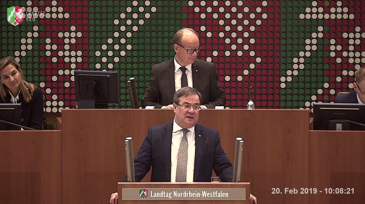 Photo of lignite mining state North Rhine-Westphalia's head of government Armin Laschet (CDU) in the state parliament. Photo: Landtag NRW 2019.