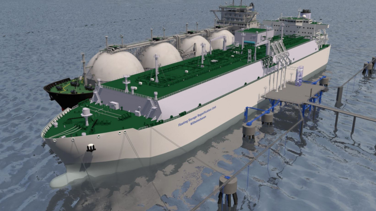 Computer simulation of floating storage vessel at planned LNG terminal Wilhelmshaven. Source: LNG Wilhelmshaven