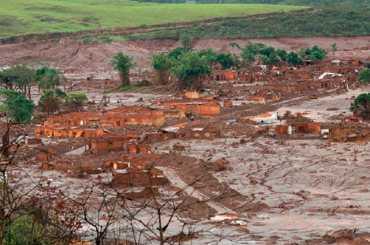 Remains of a village destroyed by the Mariana dam failure in Brazil in 2015. Photo - Senado Federal - Bento Rodrigues, Mariana, Minas Gerais