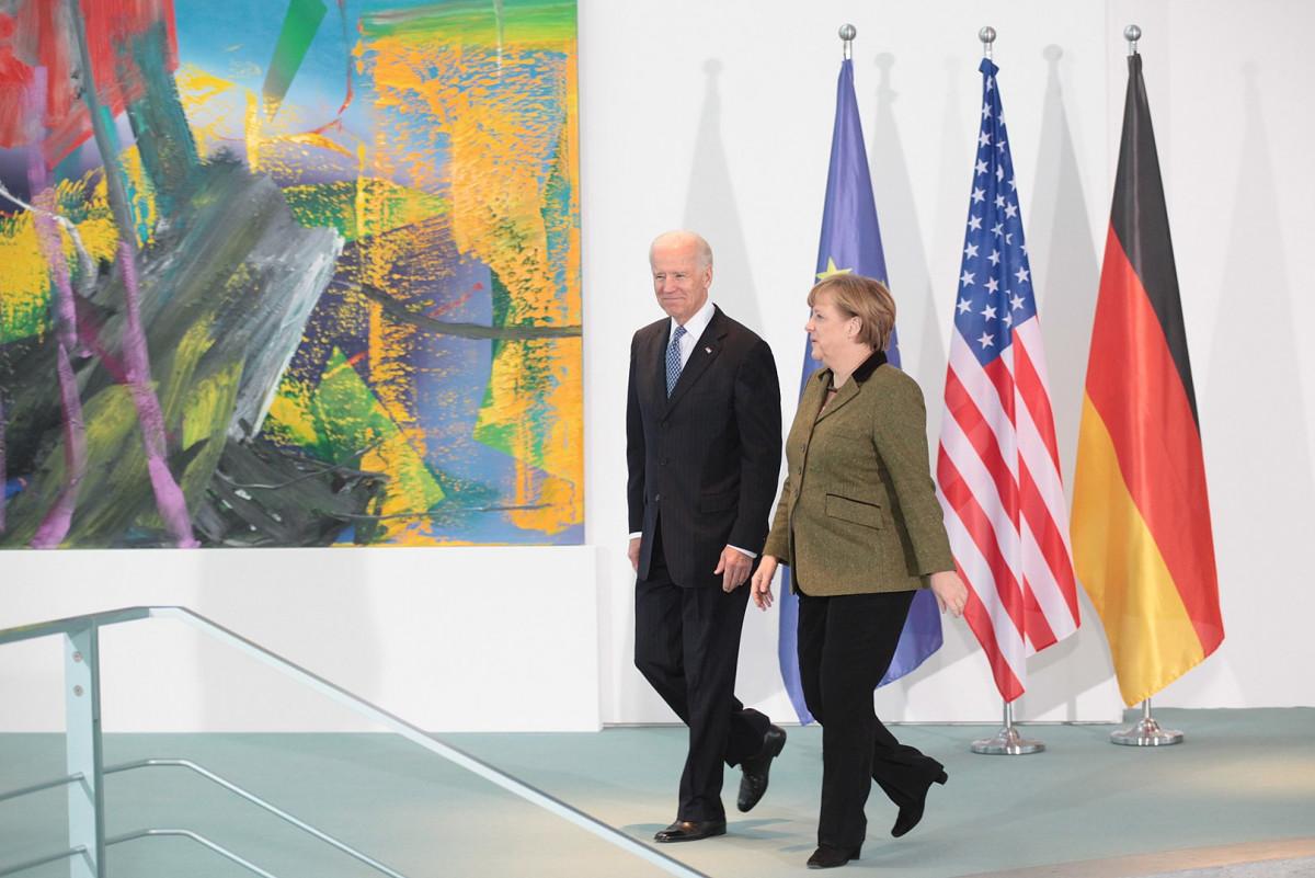 German Chancellor Angela Merkel meets then US Vice President Joe Biden in Berlin in 2013. Photo: US Botschaft Berlin