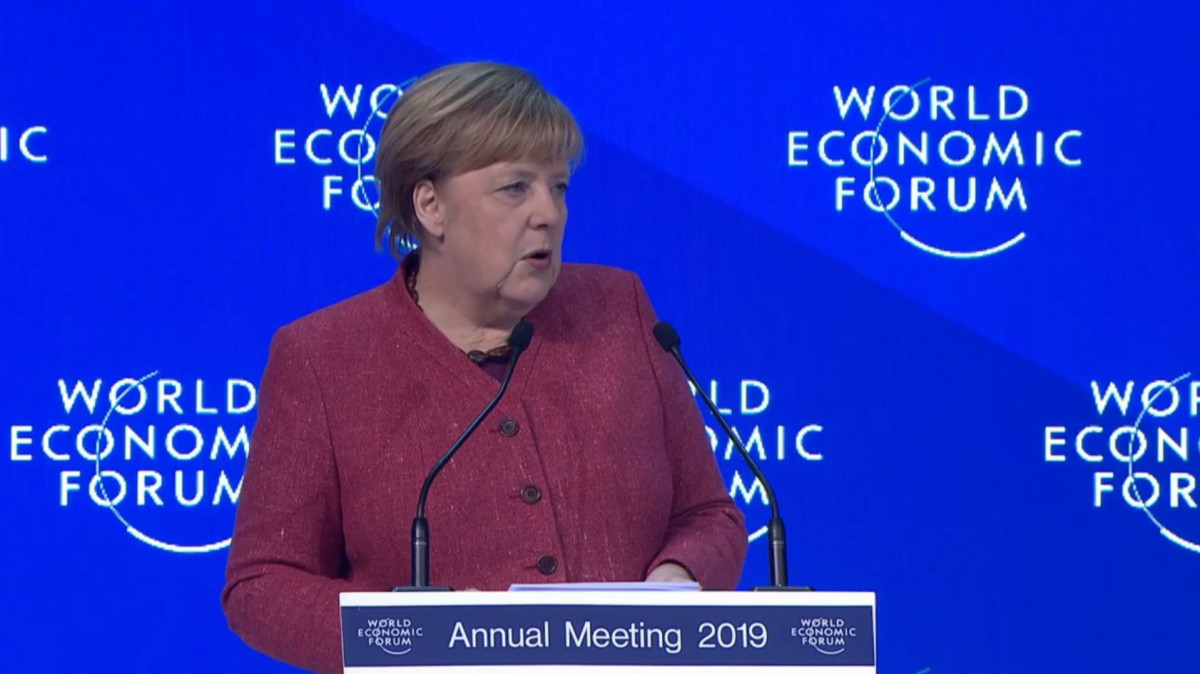 Photo shows German chancellor Angela Merkel at the World Economic Forum. Photo: WEF 2019.