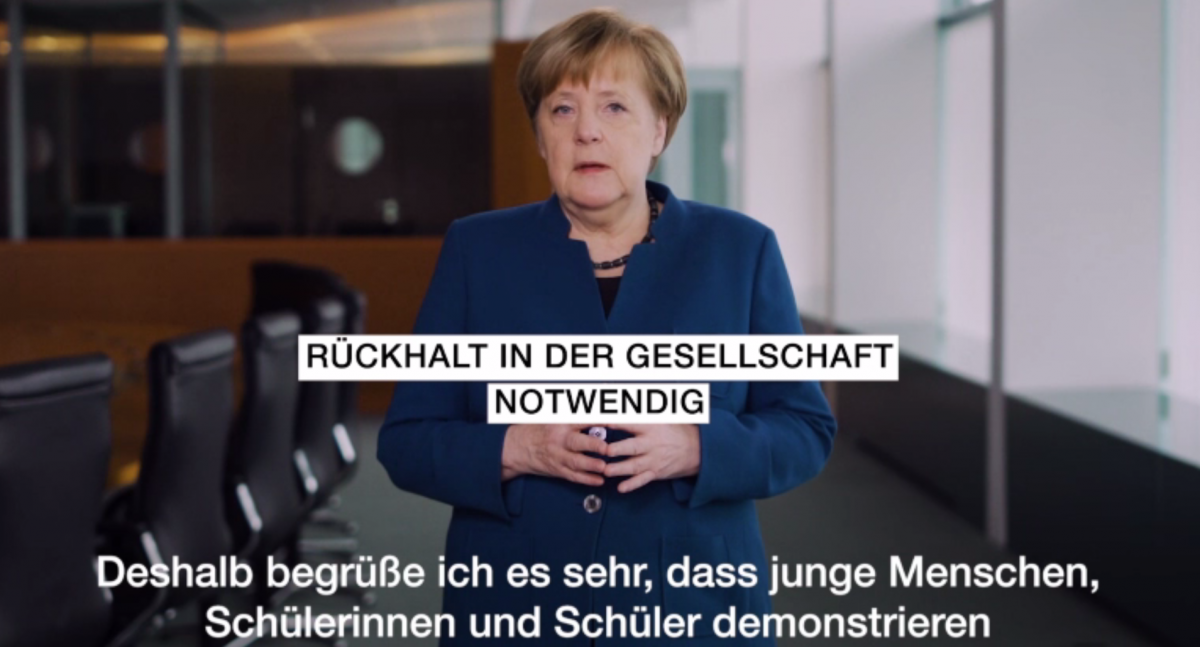 """Support by society is necessary"" - Merkel in her weekly video podcast. Source- Federal Government of Germany."