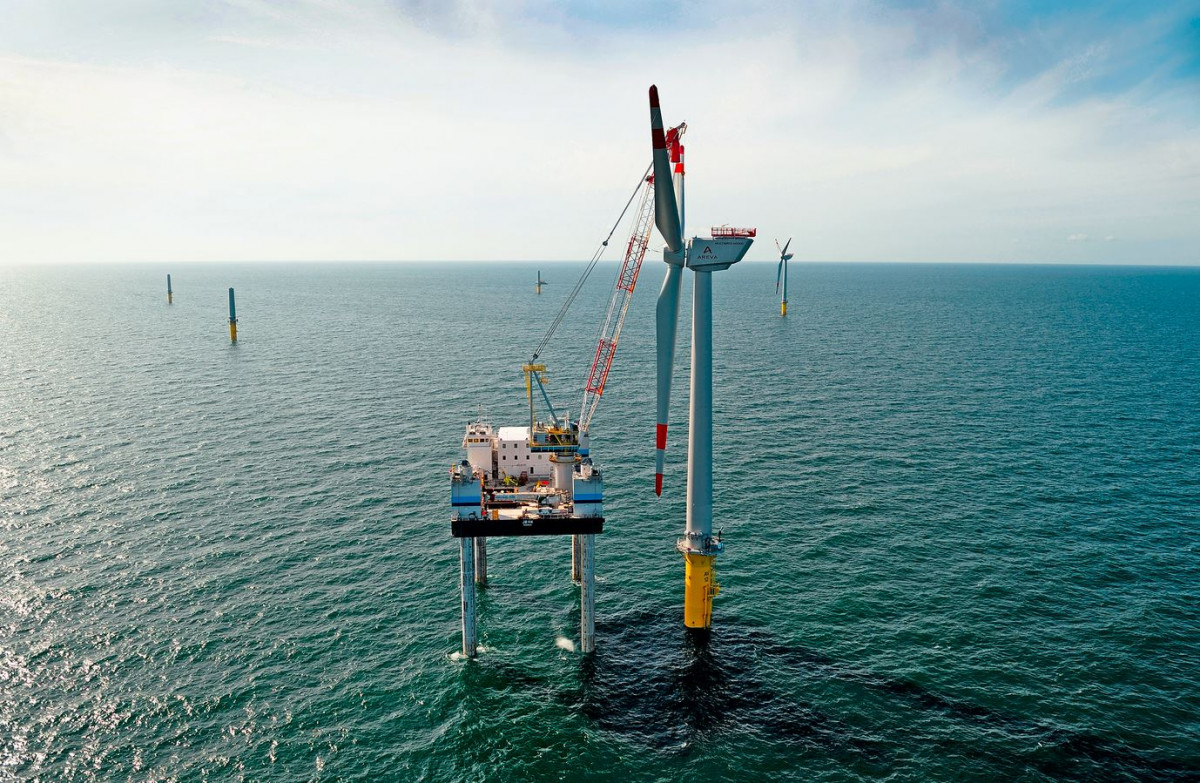 The average turbine added in 2019 was installed about 90 kilometres off the coast in 36 metre water depth. Photo: DOTI / Matthias Ibeler