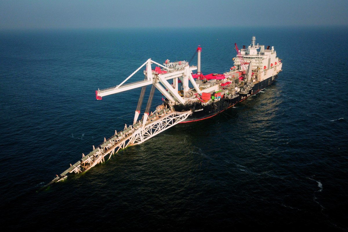 Nord Stream 2 pipelay vessel near the German island of Rügen. Photo: Axel Schmidt/NordStream2