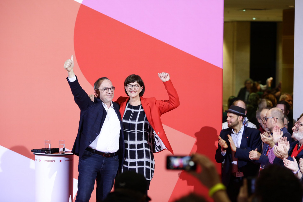 The new SPD leaders, Norbert Walter-Borjans and Saskia Esken, gained 53 percent of the intraparty vote. Photo: SPDde/Twitter